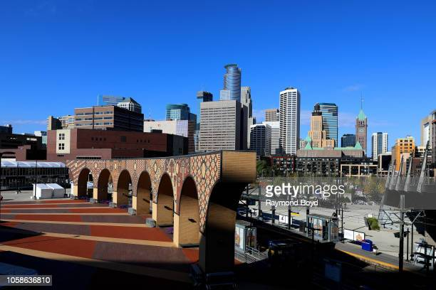 Downtown Minneapolis photographed from the US Bank Stadium ramp in Minneapolis Minnesota on October 13 2018