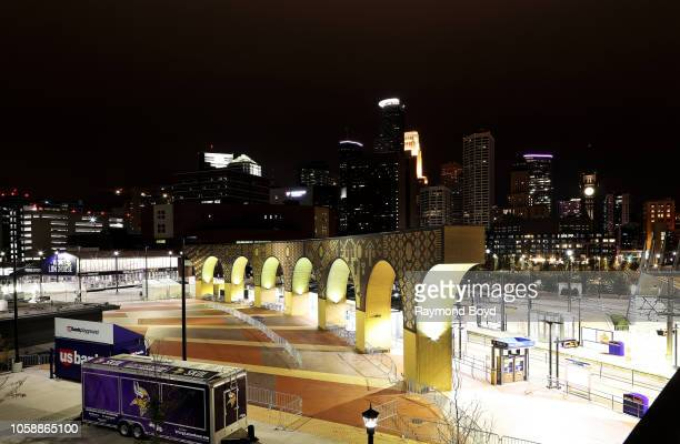 Downtown Minneapolis photographed from the US Bank Stadium ramp in Minneapolis Minnesota on October 14 2018