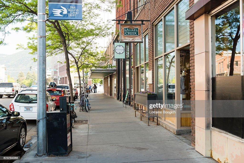 Downtown Missoula Montana Western Cityscape Street Scene USA : Foto de stock