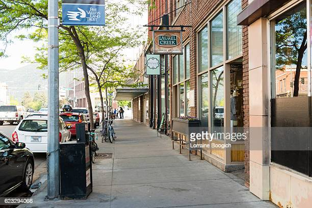 downtown missoula montana western cityscape street scene usa - montana western usa stock pictures, royalty-free photos & images