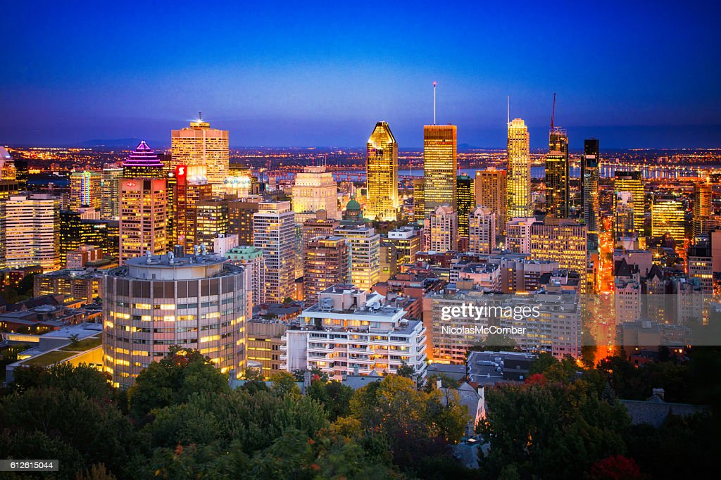 Downtown Montreal Skyline at night : Stock Photo