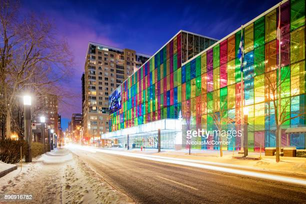 downtown montreal winter city scene featuring the palais des congres convention center - montreal stock pictures, royalty-free photos & images