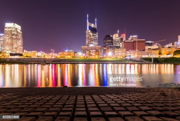 Downtown Nashville seen from Cumberland Park, Tennessee, USA