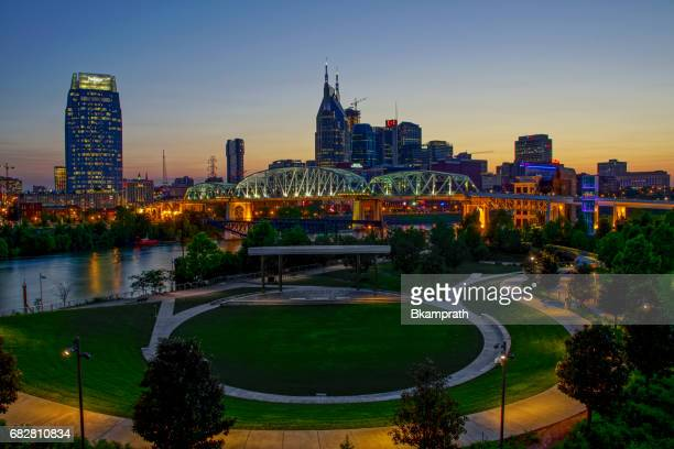 downtown nashville tennessee at sunset - cumberland usa stock photos and pictures