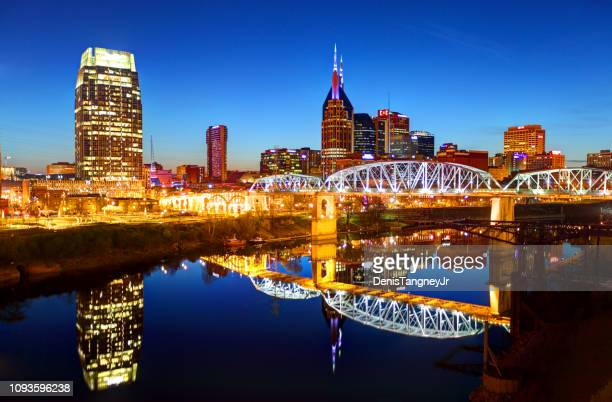 downtown nashville, tennessee skyline - nashville stock pictures, royalty-free photos & images