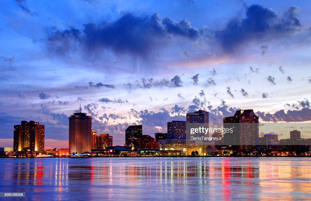 Downtown New Orleans Louisiana skyline along the Mississippi River : Stock Photo