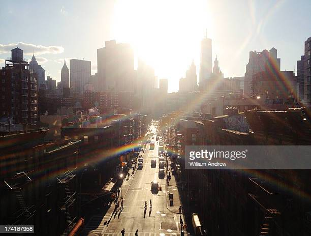 Downtown New York City with heavy lens flare