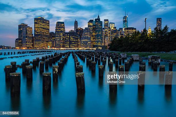 Downtown NYC skyline viewed from Brooklyn Bridge Park.