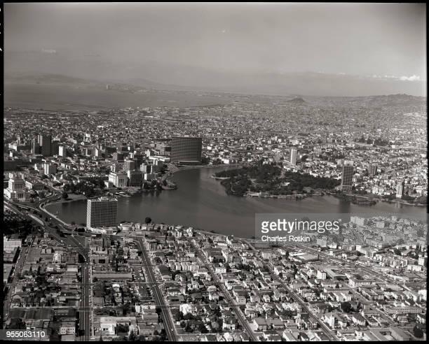 Downtown oakland and lake merritt November 1967 Oakland California USA