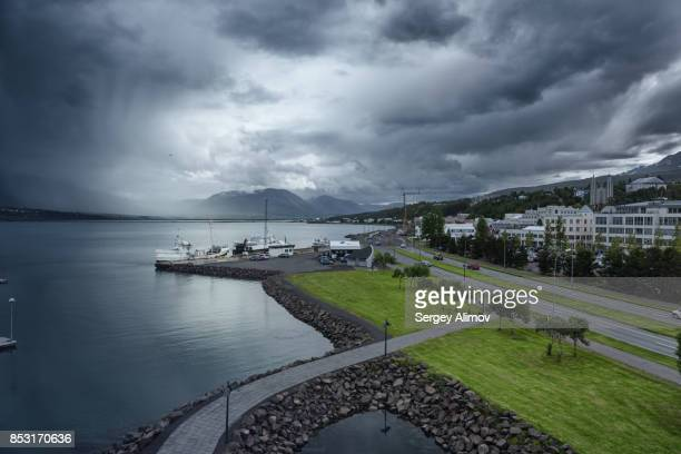Downtown of Akureyri in the moody afternoon