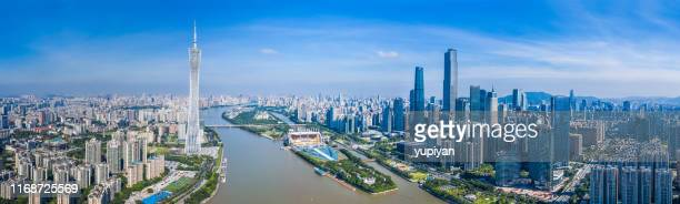 centro da cidade em guangzhou - província de guangdong - fotografias e filmes do acervo
