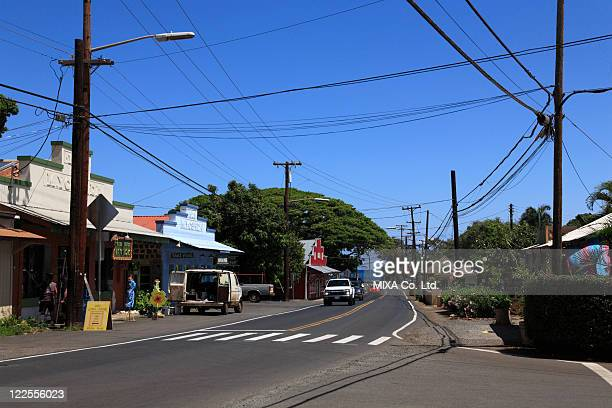 downtown of haleiwa, hawaii, u.s.a. - haleiwa - fotografias e filmes do acervo