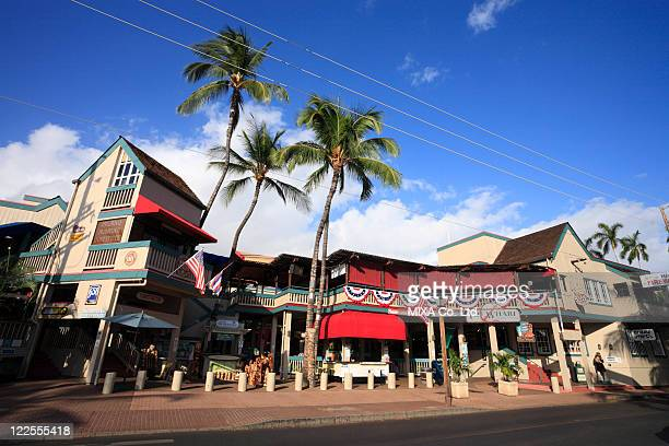 downtown of lahaina, maui, hawaii, u.s.a. - lahaina stock pictures, royalty-free photos & images