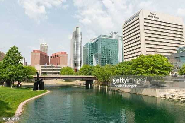 Downtown Omaha Nebraska Cityscape Buildings View Gene Leahy Mall