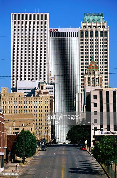 downtown on boston avenue. - tulsa stock pictures, royalty-free photos & images