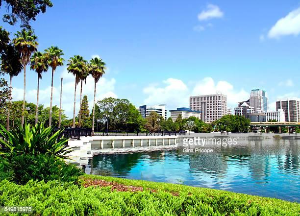 downtown orlando view, florida - orlando florida stock photos and pictures