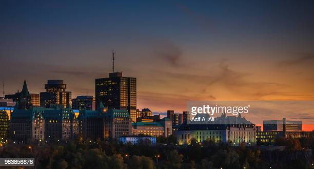 downtown ottawa's sunning sunset. - ottawa stock pictures, royalty-free photos & images
