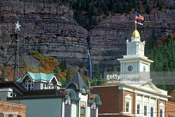 Downtown Ouray CO with flag flying