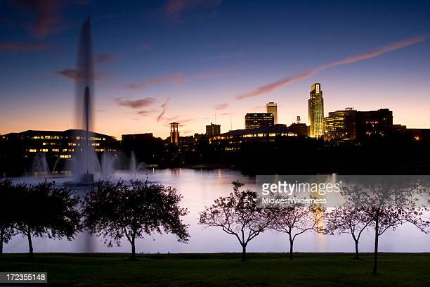 downtown park - nebraska stock photos and pictures