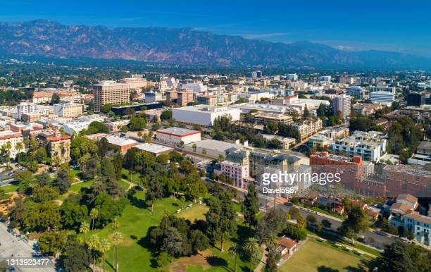 downtown pasadena aerial with mountains and park - pasadena california stock pictures, royalty-free photos & images