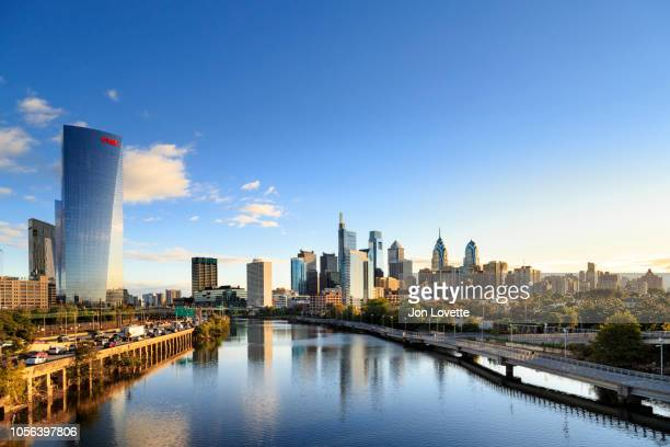 Downtown Philadelphia Skyline with Schuylkill River and Boardwalk in Autumn with Highway 76