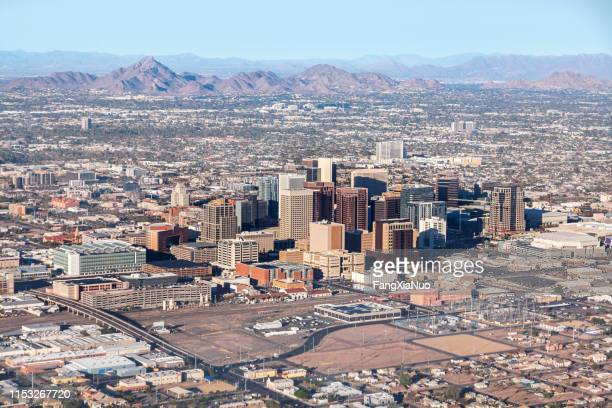 downtown phoenix aerial view from airplane - phoenix arizona stock pictures, royalty-free photos & images