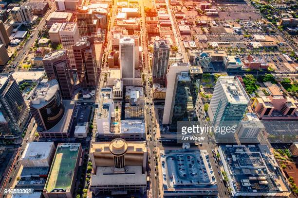 downtown phoenix aerial view - financial district stock pictures, royalty-free photos & images