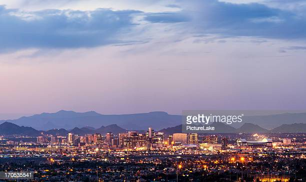 downtown phoenix, arizona dusk panorama - phoenix arizona stock photos and pictures