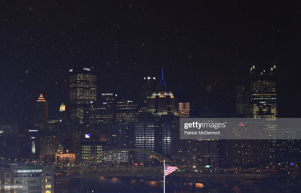 Downtown Pittsburgh is seen from the upper seats of Heinz