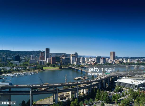 downtown portland from the air - willamette river stock photos and pictures