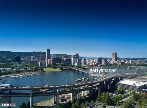 Die Innenstadt von Portland aus der Luft