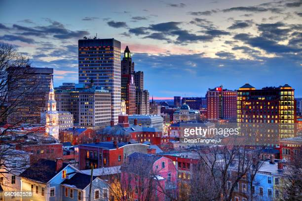 downtown providence rhode island skyline at dusk - providence rhode island stock photos and pictures