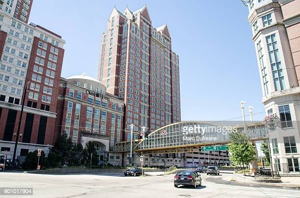 downtown providence with omni hotel and office buildings - providence rhode island stock photos and pictures