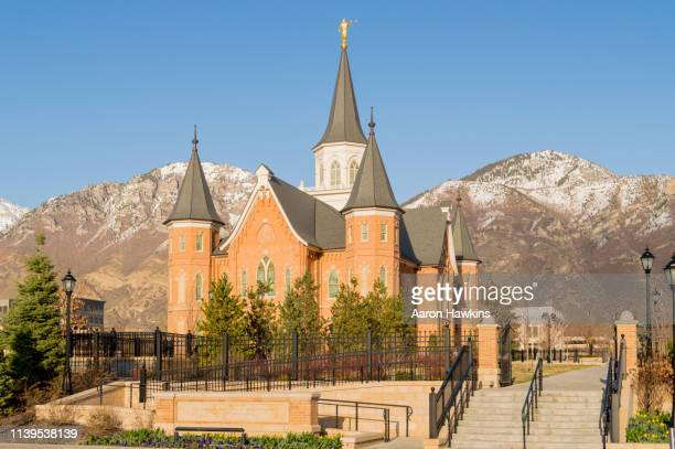 downtown provo utah temple - provo stock pictures, royalty-free photos & images