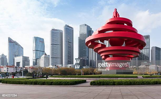 downtown qingdao seen from may forth square - qingdao beach stock pictures, royalty-free photos & images