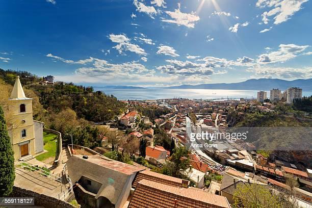 downtown rijeka from trsat castle, croatia - rijeka stock pictures, royalty-free photos & images