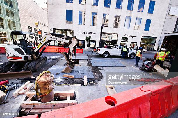downtown road construction - hertz stock pictures, royalty-free photos & images