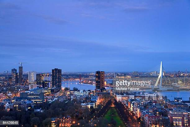 Downtown Rotterdam and Erasmus Bridge