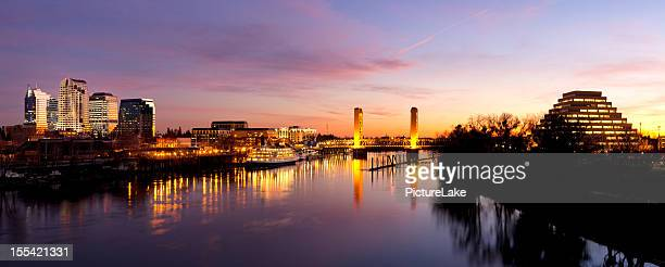 downtown sacramento skyline  after sunset - sacramento stock pictures, royalty-free photos & images