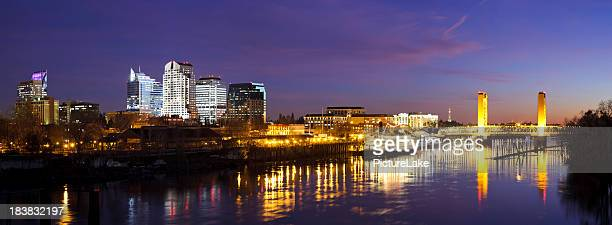 downtown sacramento skyline at late dusk - sacramento stock pictures, royalty-free photos & images