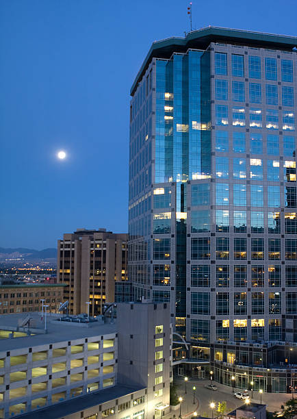 Downtown Salt Lake City By Moonlight Wall Art