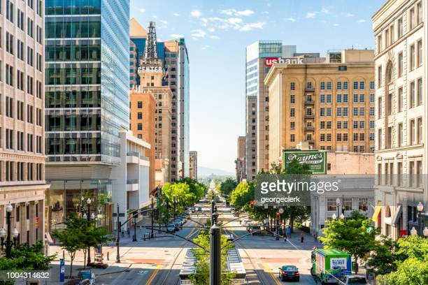 downtown salt lake city view - salt lake city utah stock photos and pictures