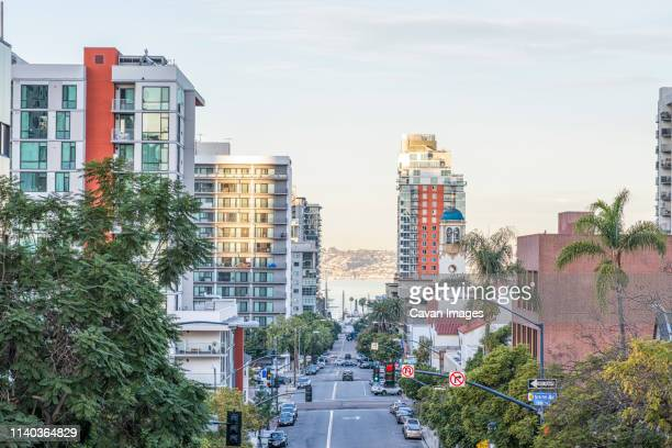 downtown san diego on a december morning. - san diego stock pictures, royalty-free photos & images