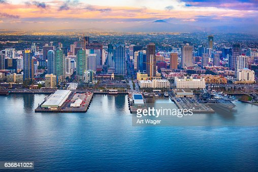 Downtown San Diego Skyline Aerial Stock Photo Getty Images