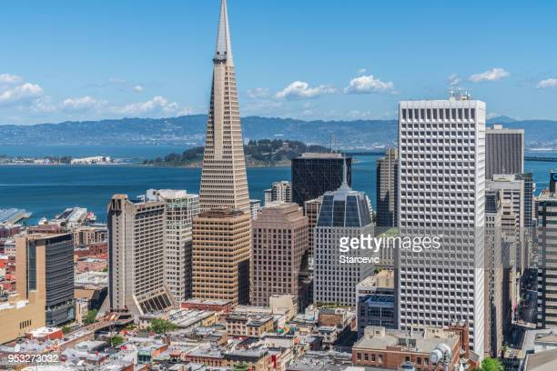Downtown San Francisco with Transamerica Building and the Bay