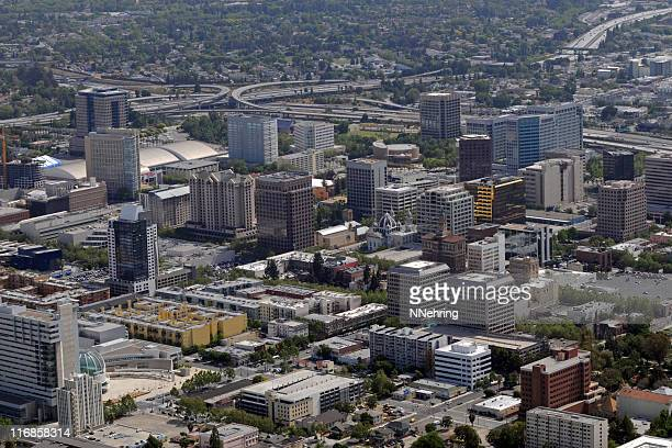 downtown San Jose, California skyline with freeways in background
