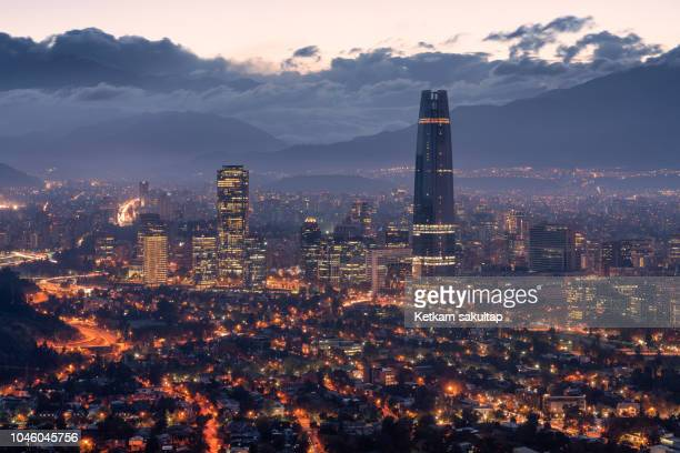 downtown santiago at dawn. - santiago chile stock pictures, royalty-free photos & images