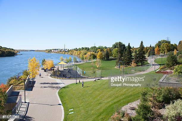Downtown Saskatoon River Landing along South Saskatchewan River
