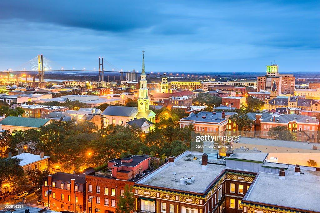 El centro de la ciudad de Savannah, Georgia, EE.UU. : Foto de stock