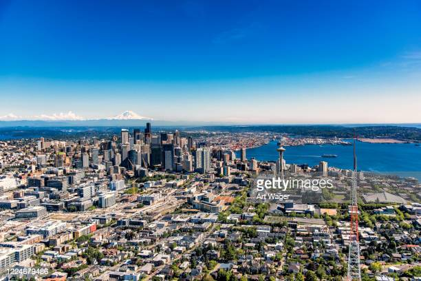 downtown seattle aerial - north pacific stock pictures, royalty-free photos & images